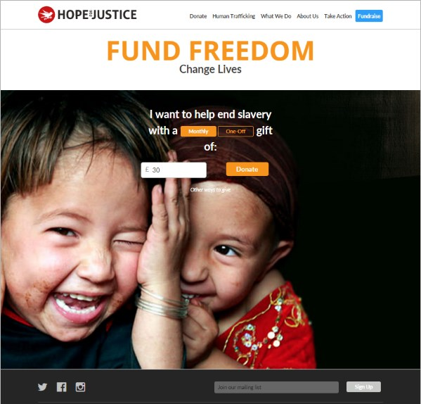 Hope for Justice Donation Page