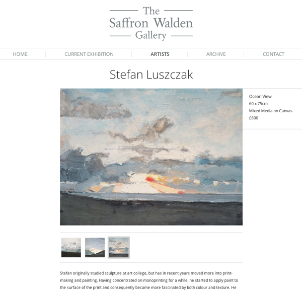 Artist page on Saffron Walden Gallery website