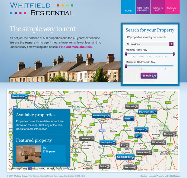 Whitfield Residential website design