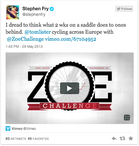 I dread to think what 2 wks on a saddle does to ones behind. @tomlister cycling across Europe with @ZoeChallenge https://vimeo.com/67104952