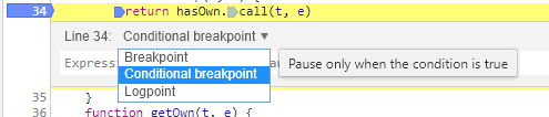conditional breakpoints in Chrome dev tools in use at Fluent.